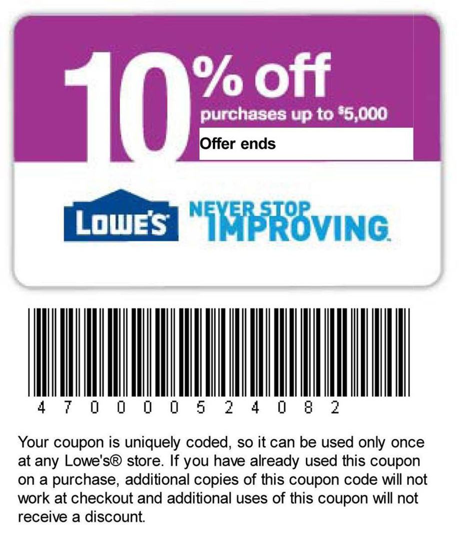 Printable Lowes Coupon 20% Off &10 Off Codes December 2016 - Lowes Coupon Printable Free