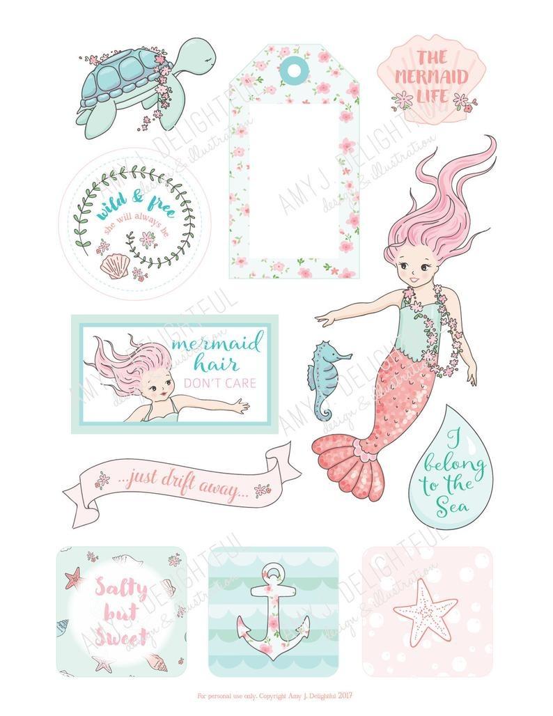 Printable Mermaid Planner Die Cuts Digital File Instant   Etsy - Scrapbooking Die Cuts Free Printable