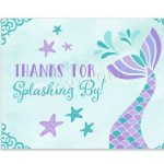 Printable Mermaid Thank You Card For Girl Birthday Party W/matching   Free Printable Mermaid Thank You Cards