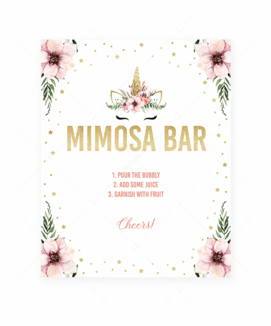 Printable Mimosa Bar Table Sign Pink And Gold Unicorn - Unicorn Baby - Free Printable Mimosa Bar Sign