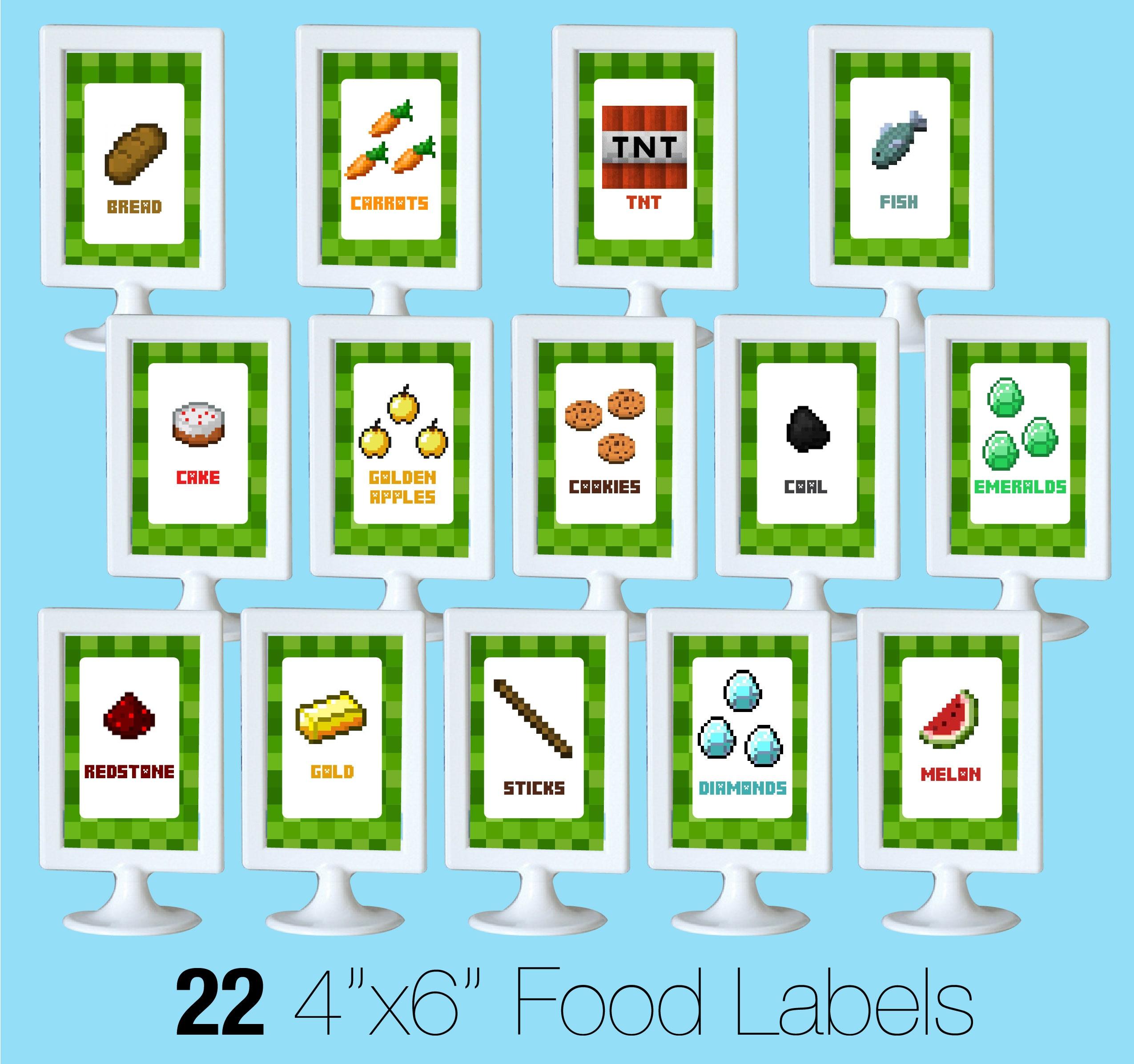 Printable Minecraft Food Labels - Creative Little Parties - Free Printable Minecraft Food Labels