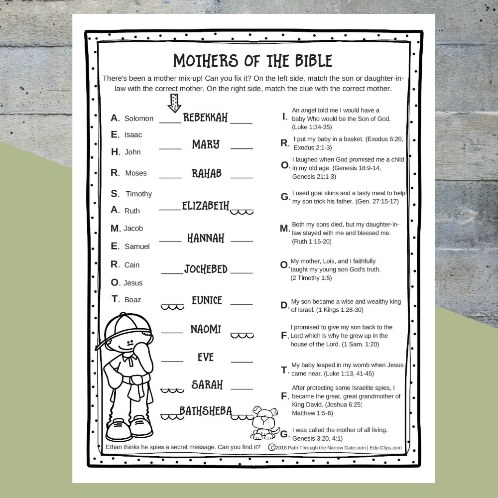 Printable Mothers Of The Bible Worksheet - Path Through The Narrow Gate - Free Printable Activities For Adults
