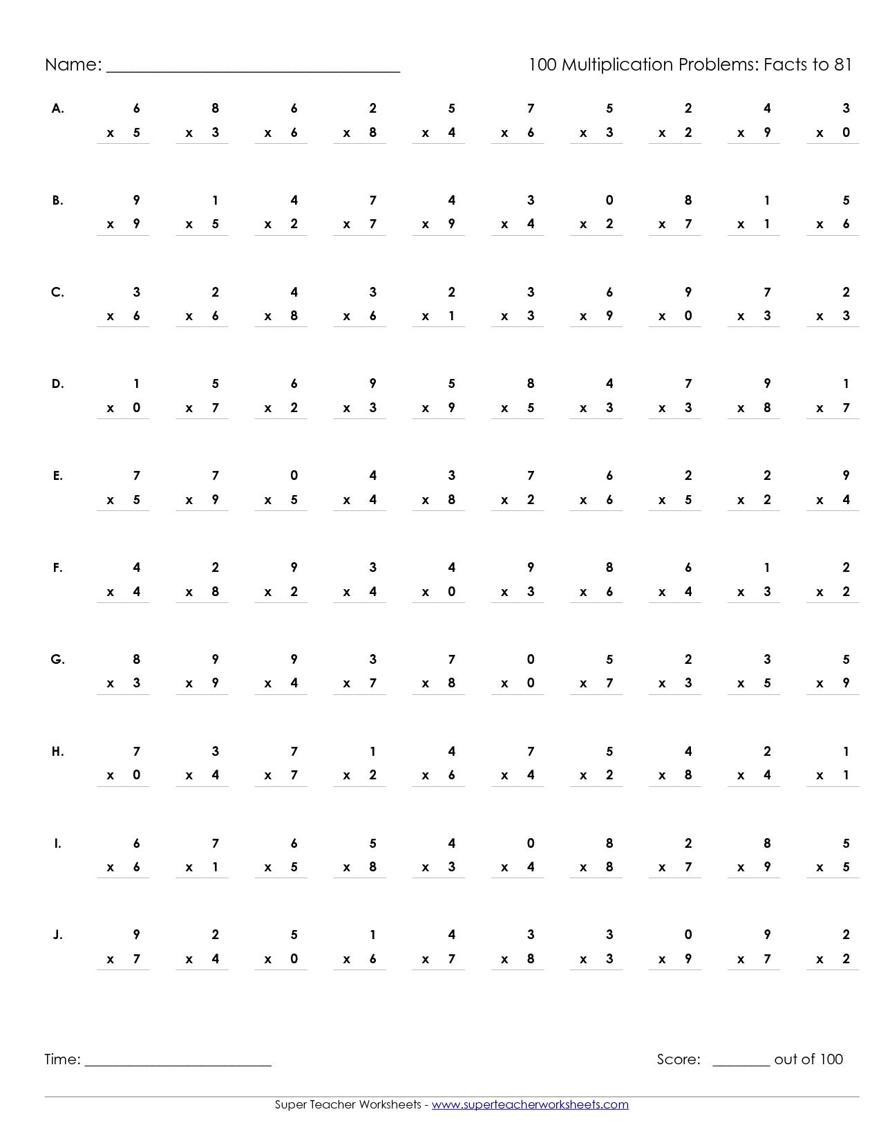 Printable Multiplication Worksheets 100 Problems | Math' S - Free Printable Multiplication Worksheets 100 Problems