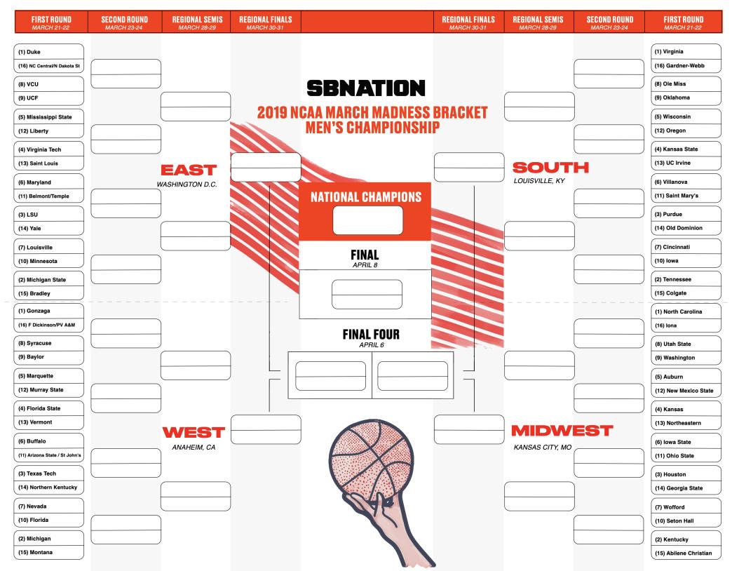 Printable Ncaa Bracket 2019: Make Your Predictions With Sb Nation's - Free Printable Brackets Ncaa Basketball