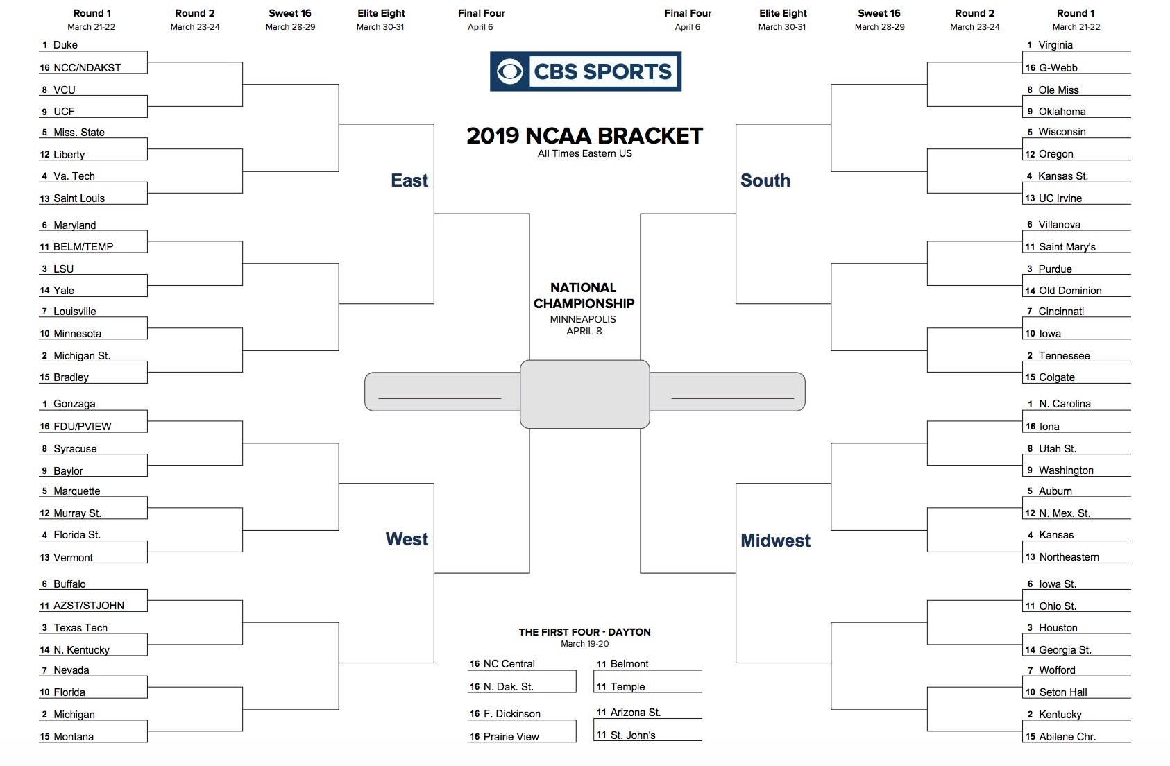 Printable Ncaa Tournament Bracket For March Madness 2019 - Free Printable Brackets