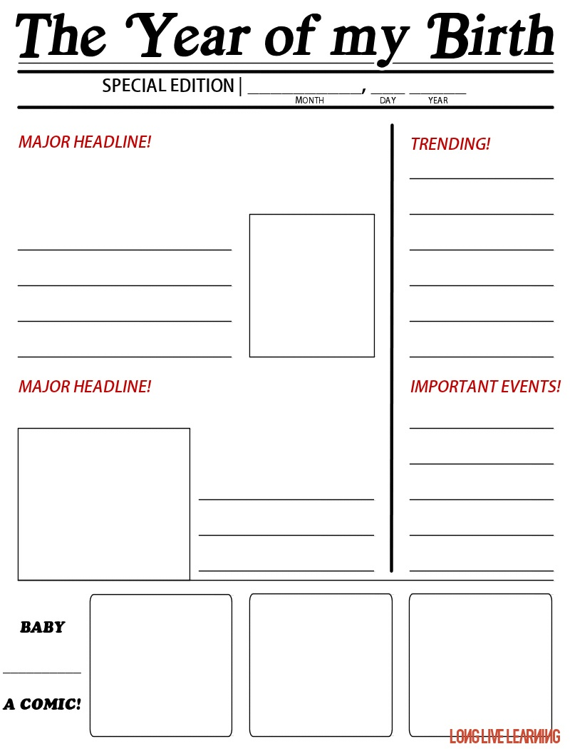 """Printable Newspaper Activity, """"The Year I Was Born"""" – Happy Trails - Free Printable Newspaper Templates For Students"""