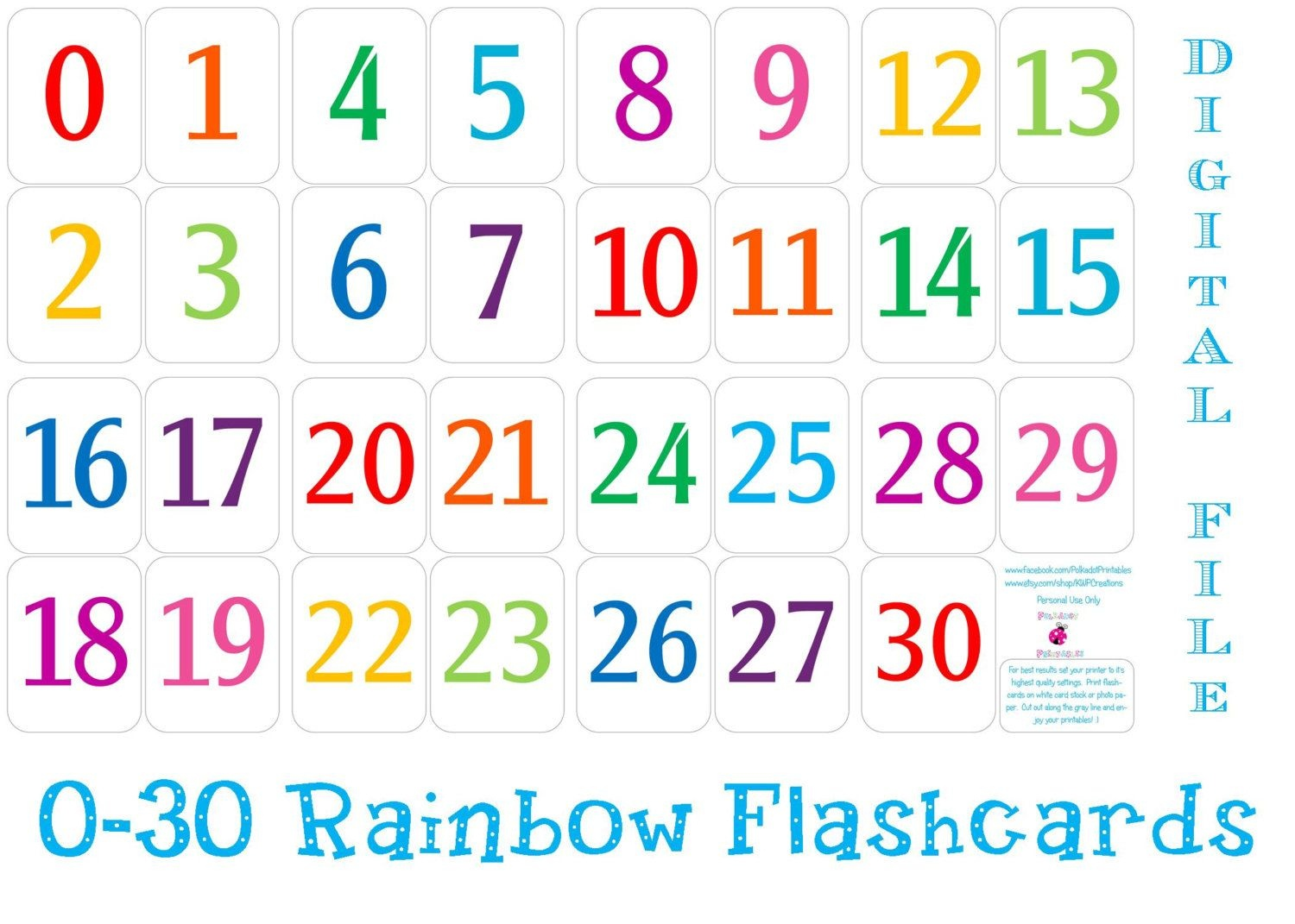 Printable Number Cards 1 30 | Numbers | Number Flashcards, Numbers - Free Printable Number Flashcards 1 30