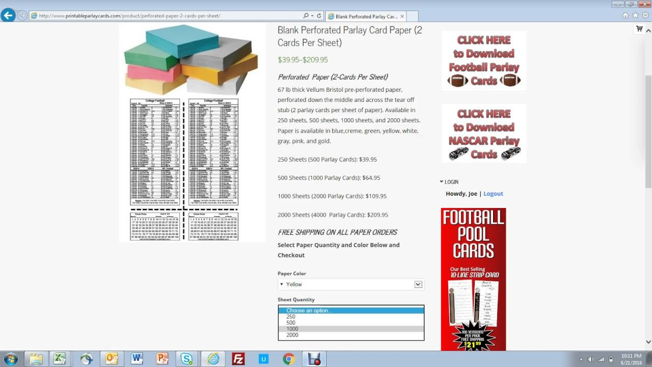 Printable Parlay Cards - Free Printable Parlay Cards