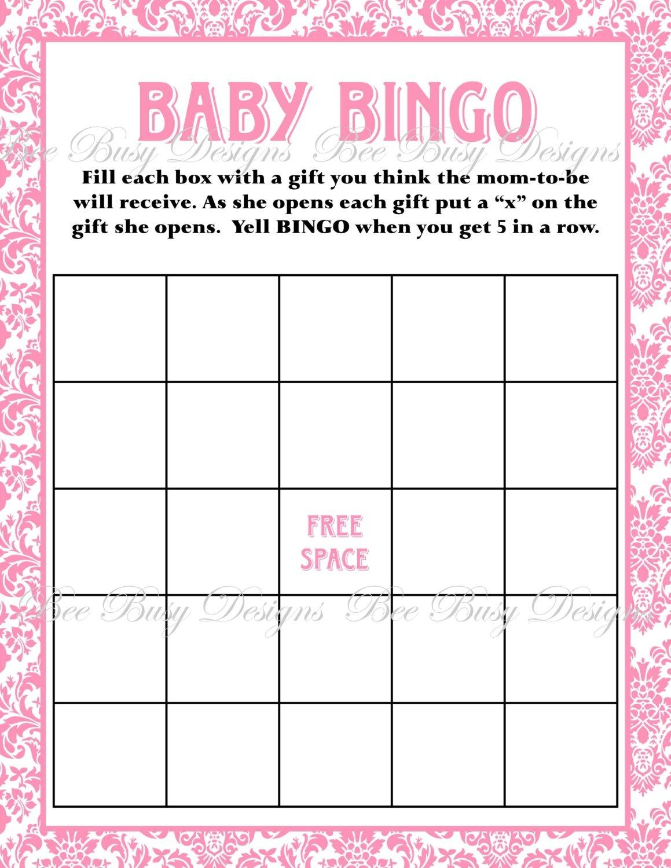Printable Pink Damask Baby Shower Bingo Game | Bee Busy Designs - Baby Bingo Free Printable Template