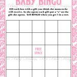 Printable Pink Damask Baby Shower Bingo Game Instant Download | Baby   Free Printable Baby Shower Bingo Cards Pdf