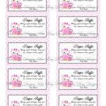 Printable Pink Mom With Little Girl Owl Diaper Raffle Tickets | Free   Free Printable Baby Shower Diaper Raffle Tickets