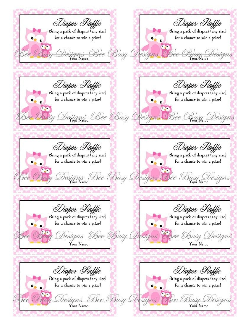 Printable Pink Mom With Little Girl Owl Diaper Raffle Tickets | Free - Free Printable Diaper Raffle Tickets