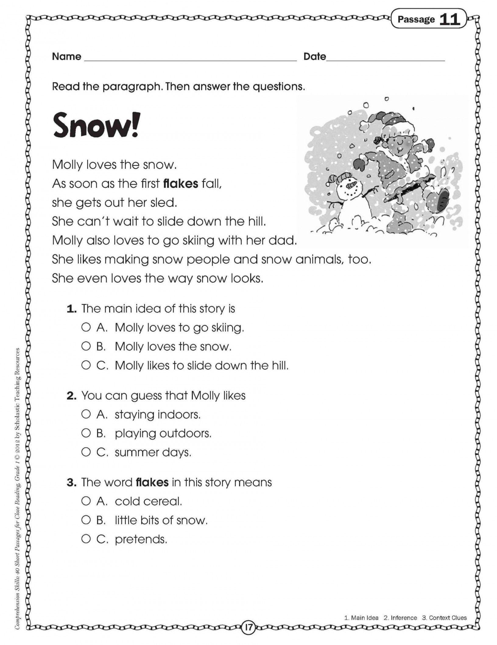 Printable Reading Comprehension Worksheets For Reading Worksheets - Free Printable Reading Comprehension Worksheets For 3Rd Grade