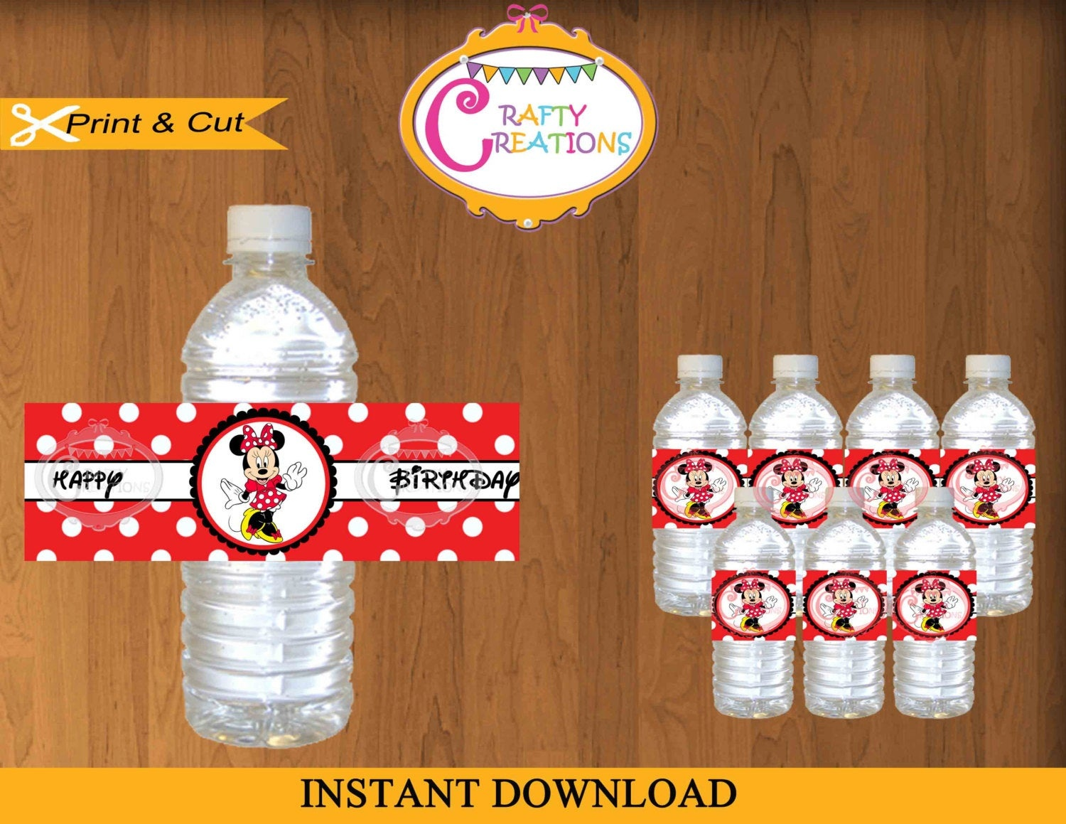Printable Red Minnie Mouse Water Bottle Labels Instant | Etsy - Free Printable Disney Cars Water Bottle Labels