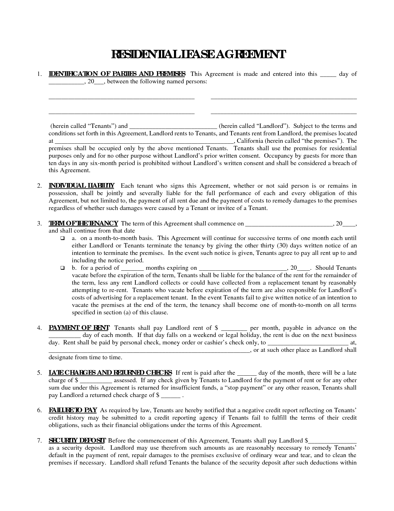 Printable Residential Free House Lease Agreement   Residential Lease - Free Printable Lease