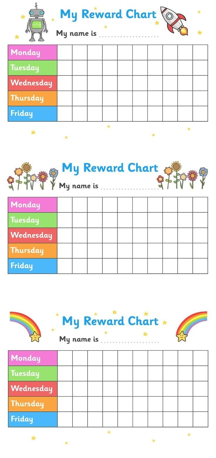 Printable Reward Chart For Teachers Multiple | Kindergarten - Free Printable Incentive Charts For Teachers