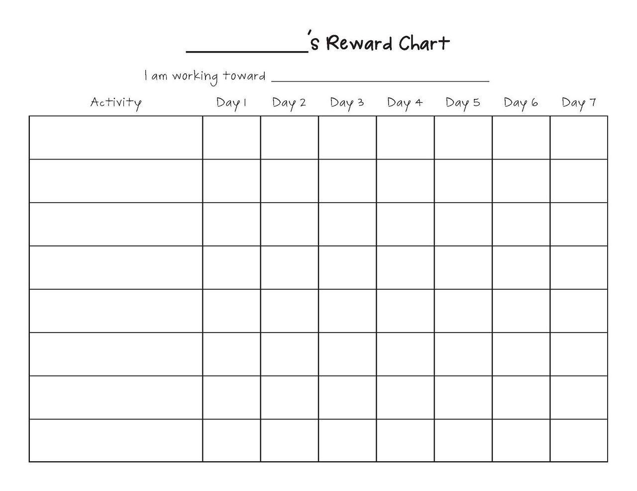 Printable Reward Chart Template | Printable Reward Charts Template - Free Printable Reward Charts