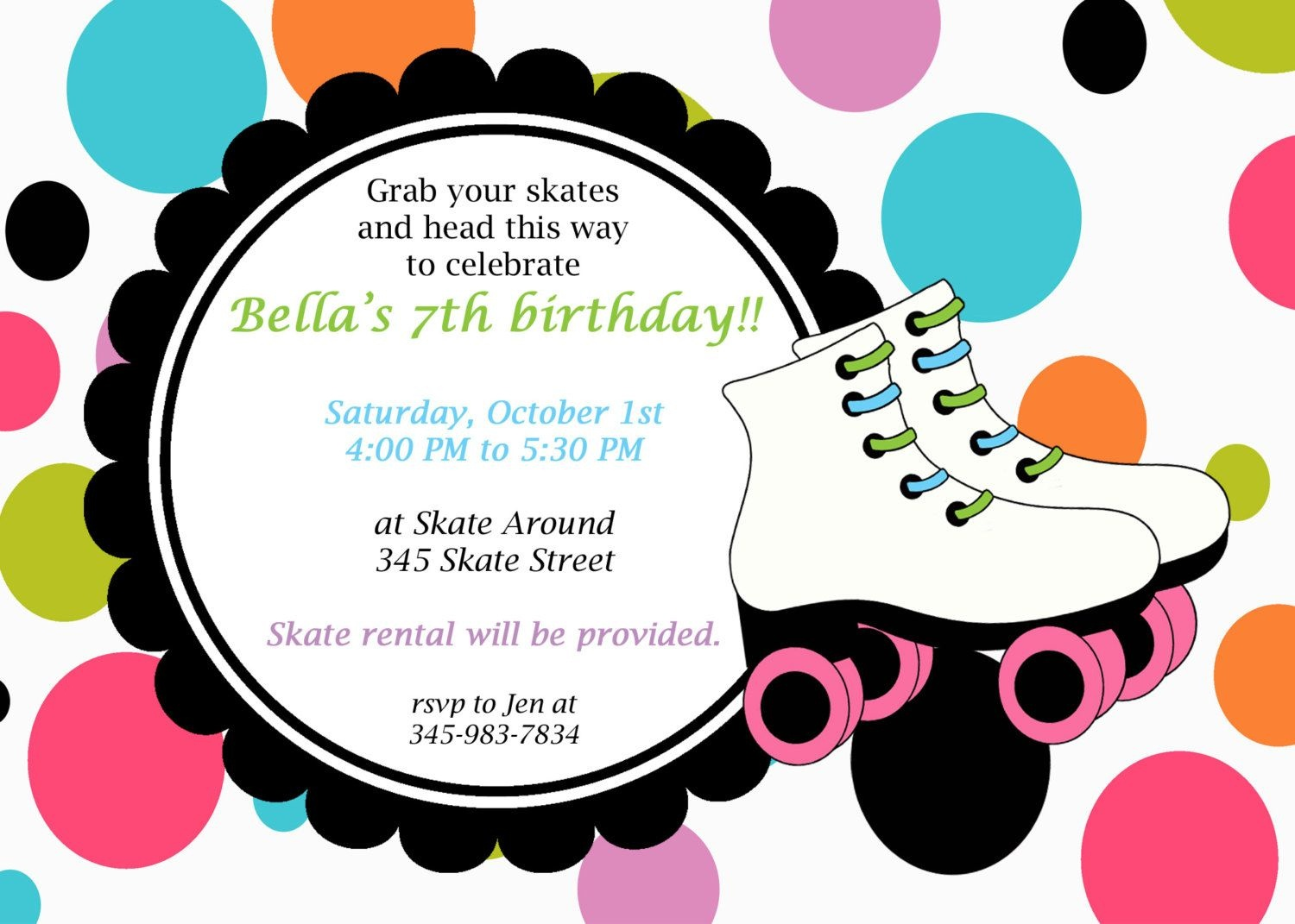 Printable Roller Skating Invitations | Birthday Ideas In 2019 - Free Printable Skating Invitations