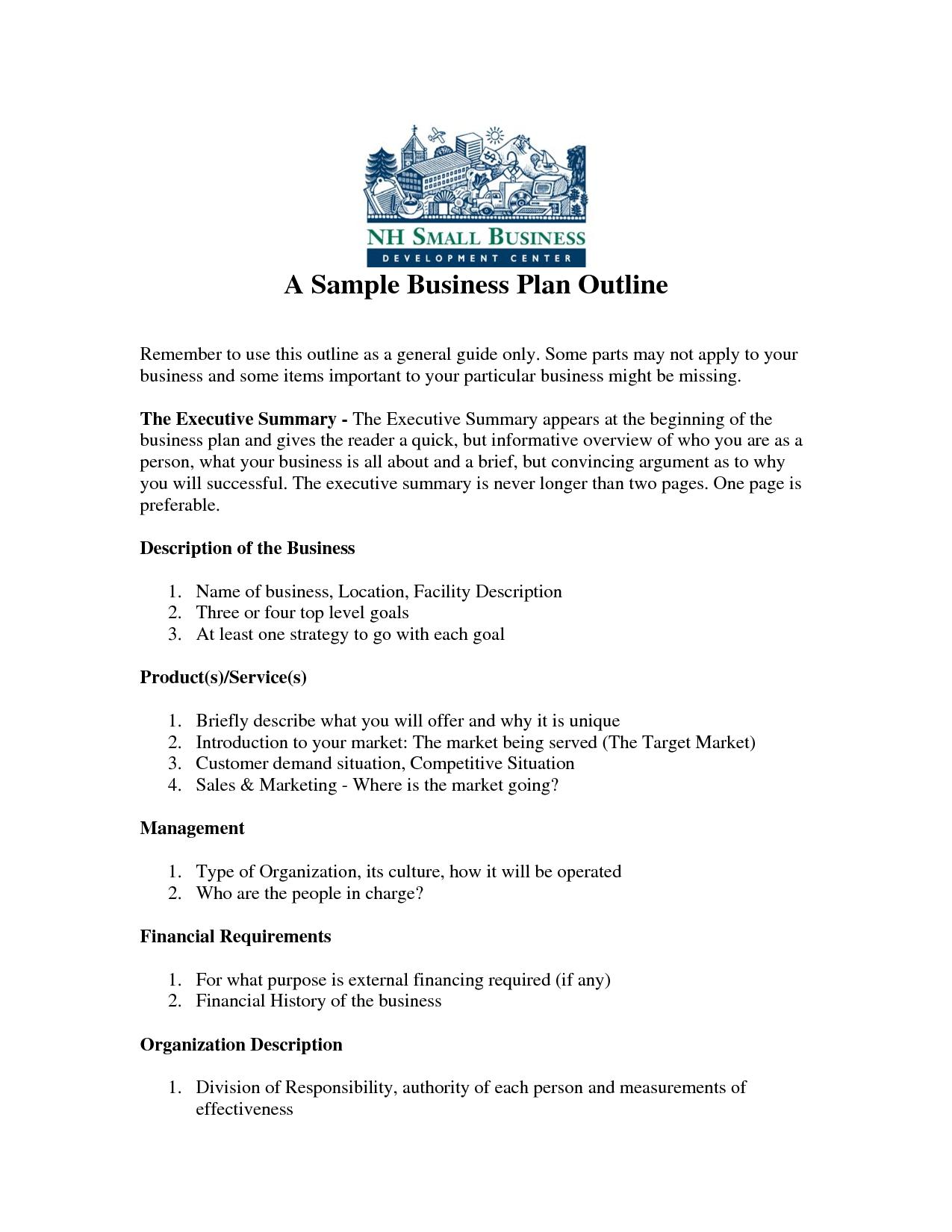 Printable Sample Business Plan Sample Form | Forms And Template - Free Printable Simple Business Plan Template