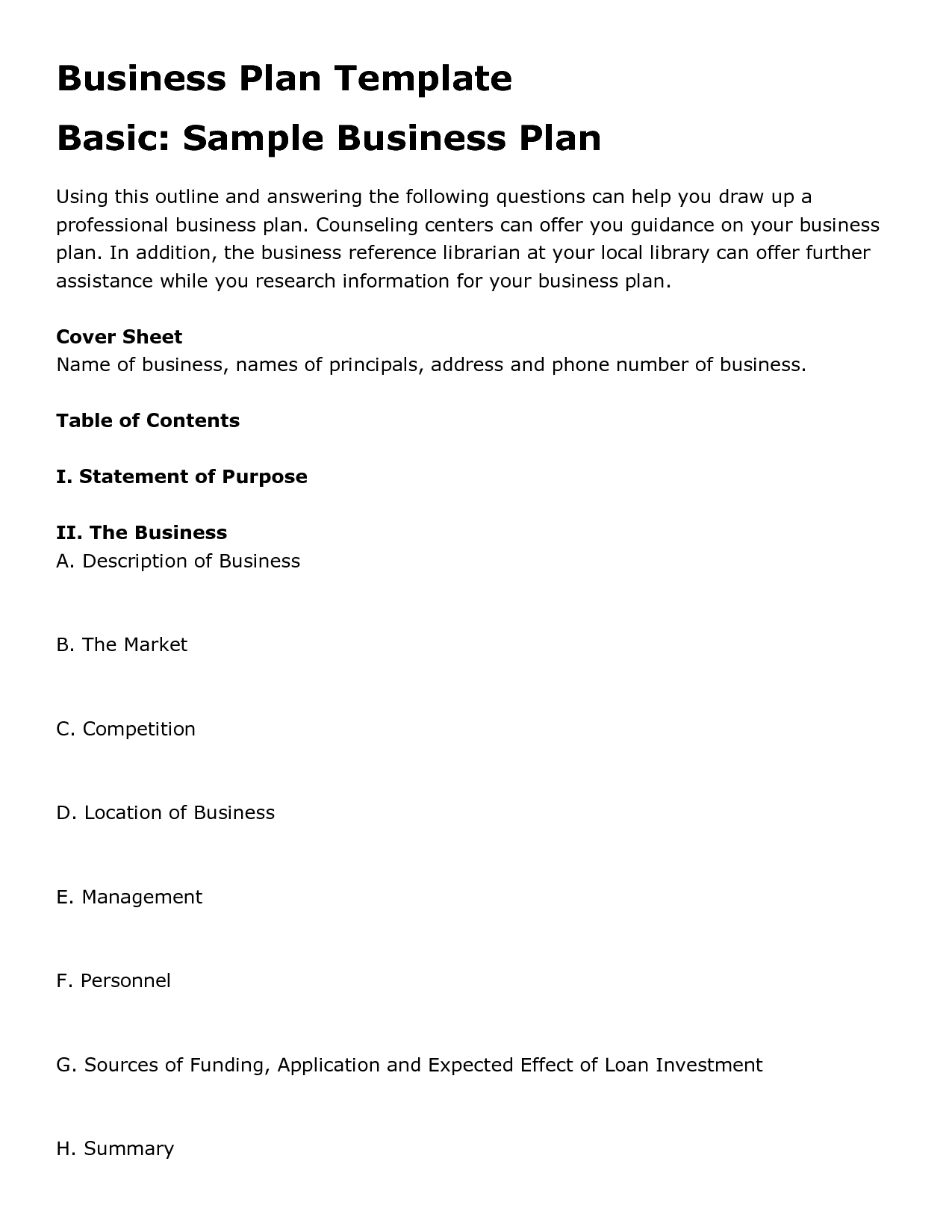 Printable Sample Business Plan Template Form | Entrepreneur Inspo - Free Printable Simple Business Plan Template