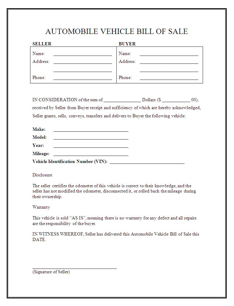 Printable Sample Free Car Bill Of Sale Template Form | Laywers - Free Printable Bill Of Sale For Car