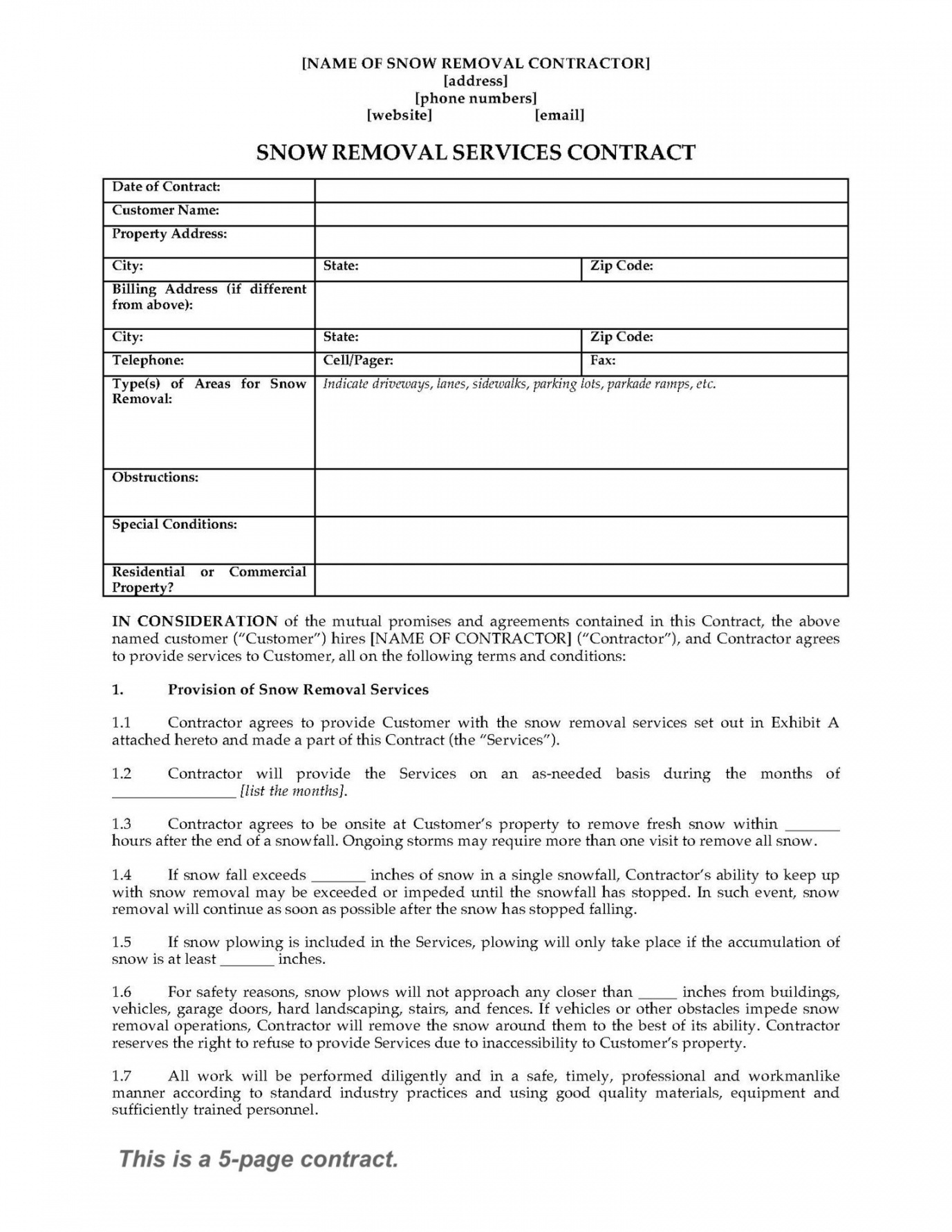 Printable Snow Removal Contract Template Canasbergdorfbibco Snow - Free Printable Snow Removal Contract