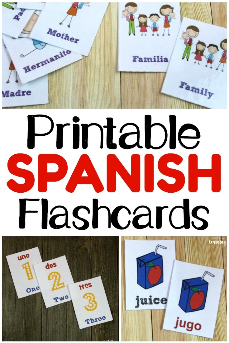 Printable Spanish Flashcards - Look! We're Learning! - Free Printable Vocabulary Flashcards