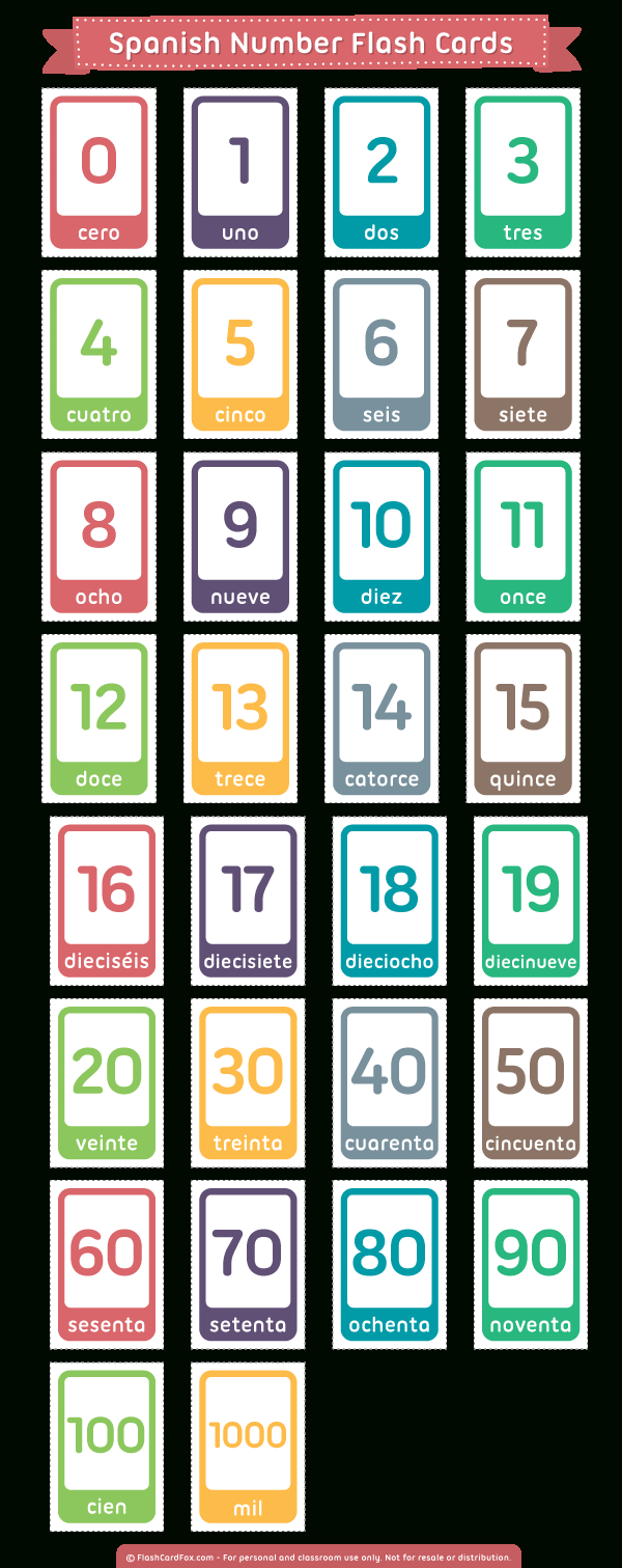 Printable Spanish Number Flash Cards - Free Printable Number Flashcards 1 30