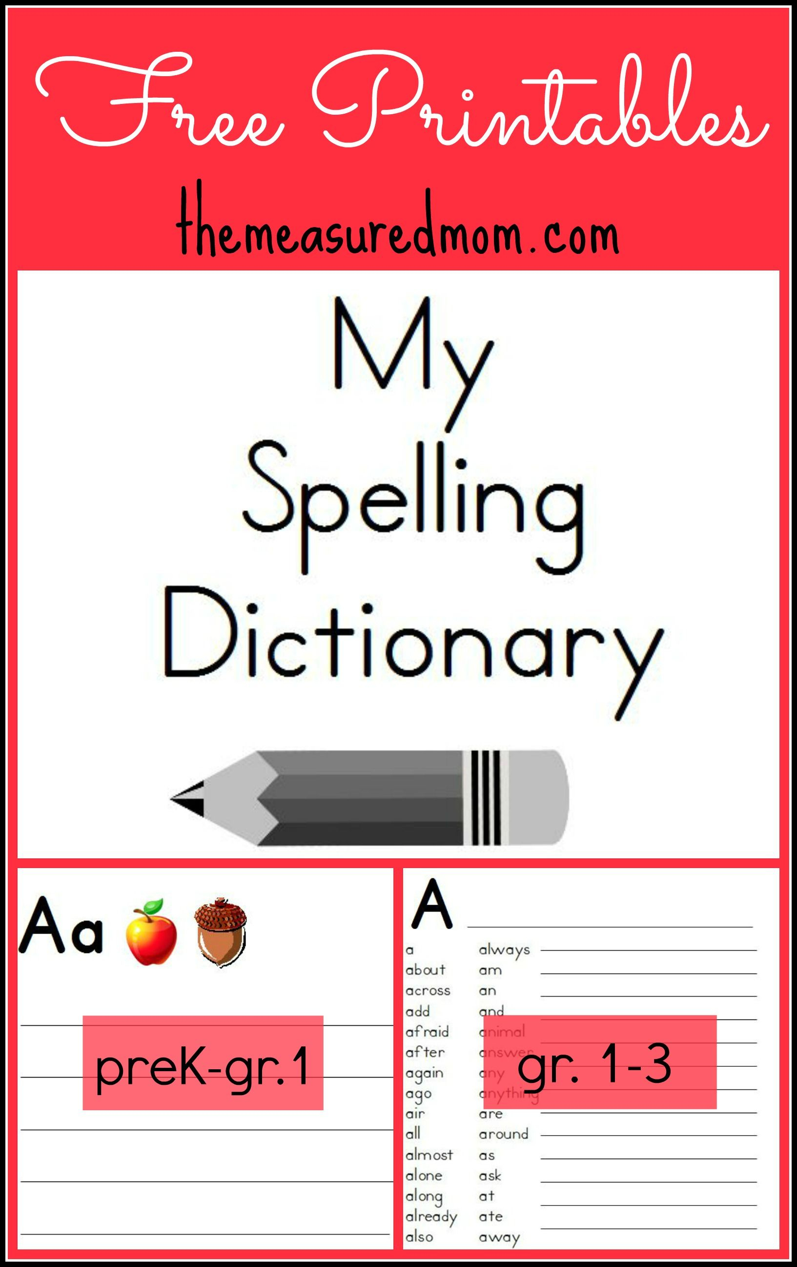 Printable Spelling Dictionary For Kids | For My Students | Escuela - My Spelling Dictionary Printable Free