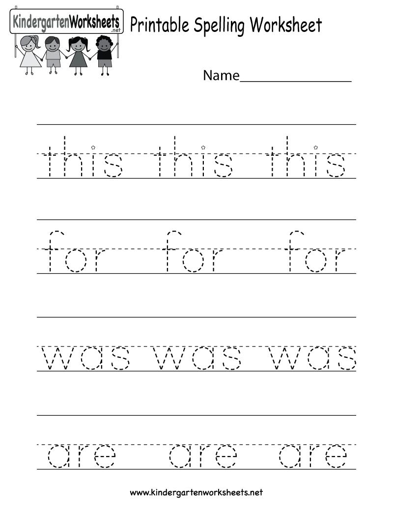Printable Spelling Worksheet - Free Kindergarten English Worksheet - Free Printable Worksheets For Kids