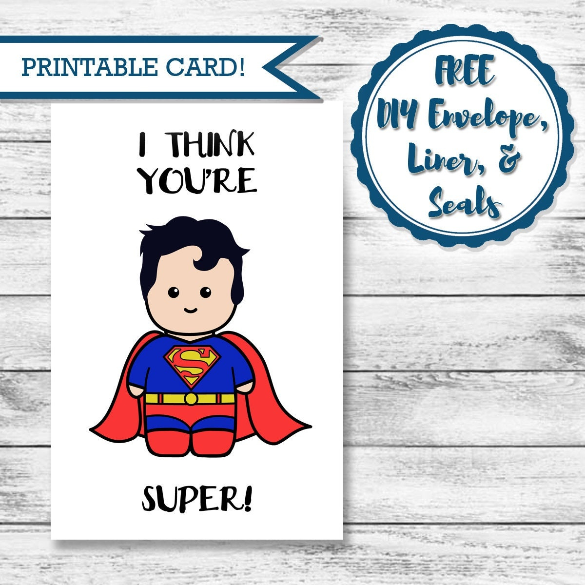 Printable Super Hero Card Superman Valentine's Day | Etsy - Free Printable Superman Valentine Cards