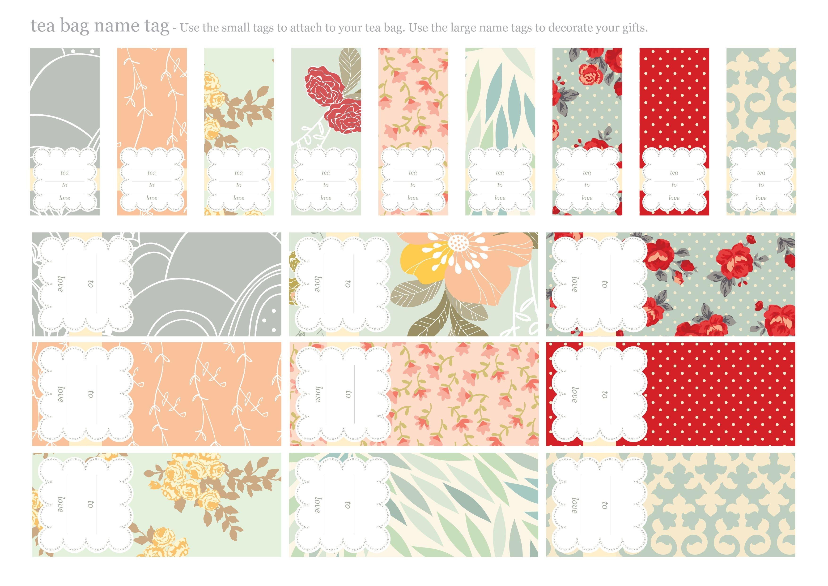 Printable Tea Bags And Matching Name Tags {Envelopes} | Tags | Tea - Free Printable Gift Name Tags