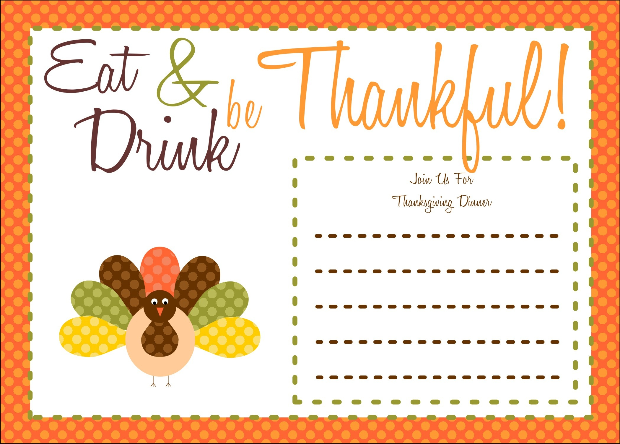 Printable Thanksgiving Invitations Templates – Happy Easter - Free Printable Thanksgiving Dinner Invitation Templates