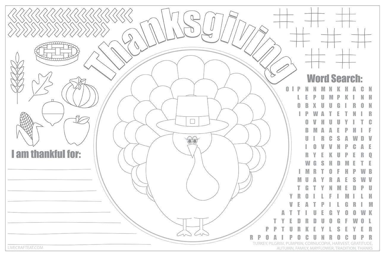 Printable Thanksgiving Placemats For Kids - Free | Fine Motor - Free Printable Thanksgiving Coloring Placemats