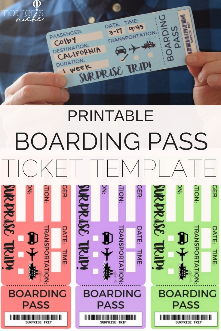 Printable Tickets Template: Boarding Passes For Surprise Vacation - Free Printable Boarding Pass