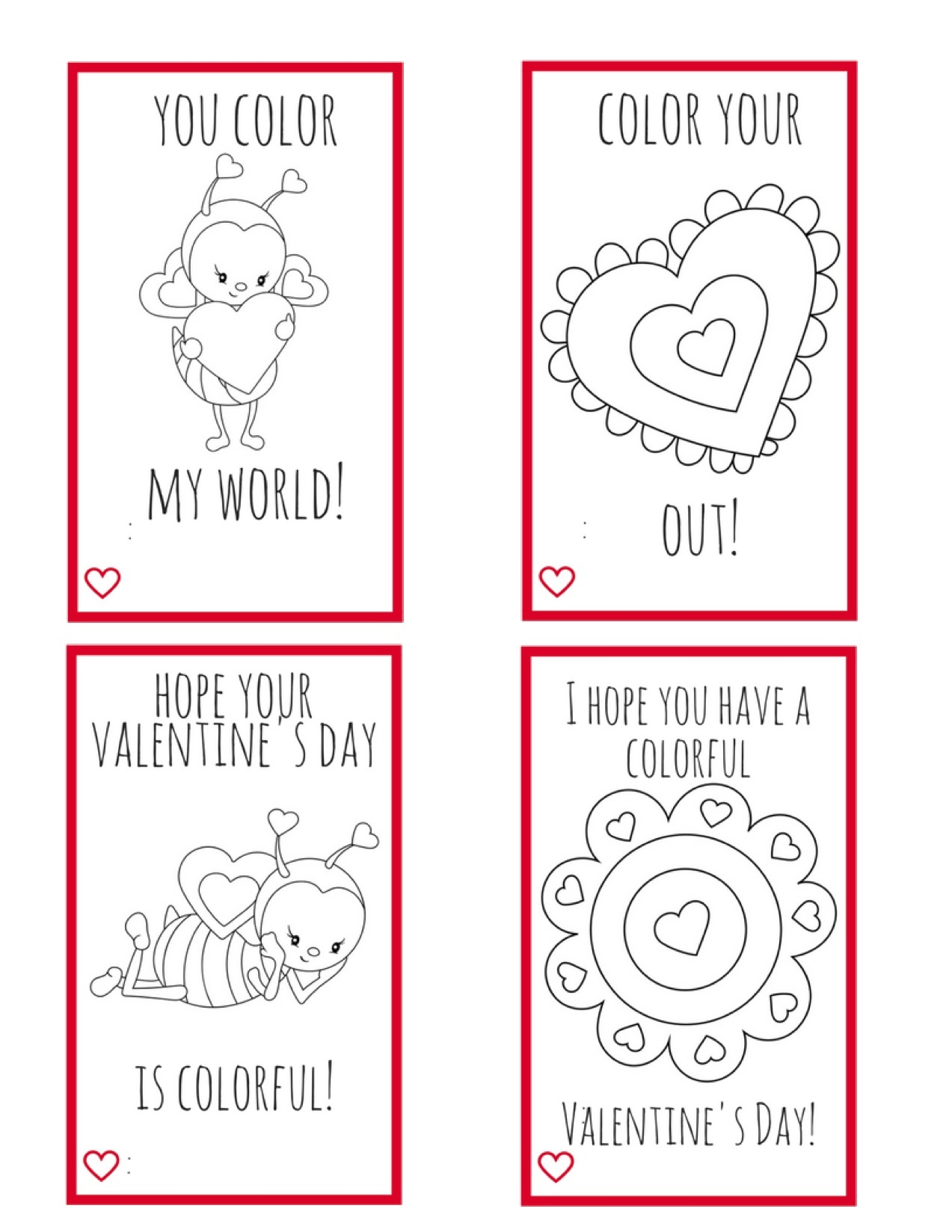 Printable Valentine Cards For Kids--Perfect For Kids To Make For - Free Printable Color Your Own Cards
