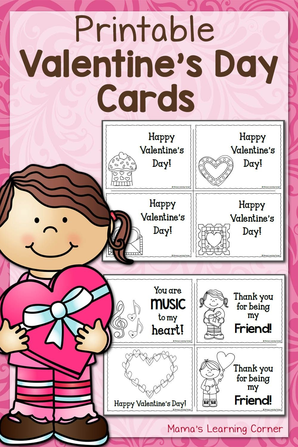 Printable Valentine's Day Cards | Best Of Mama's Learning Corner - Free Printable Heart Designs