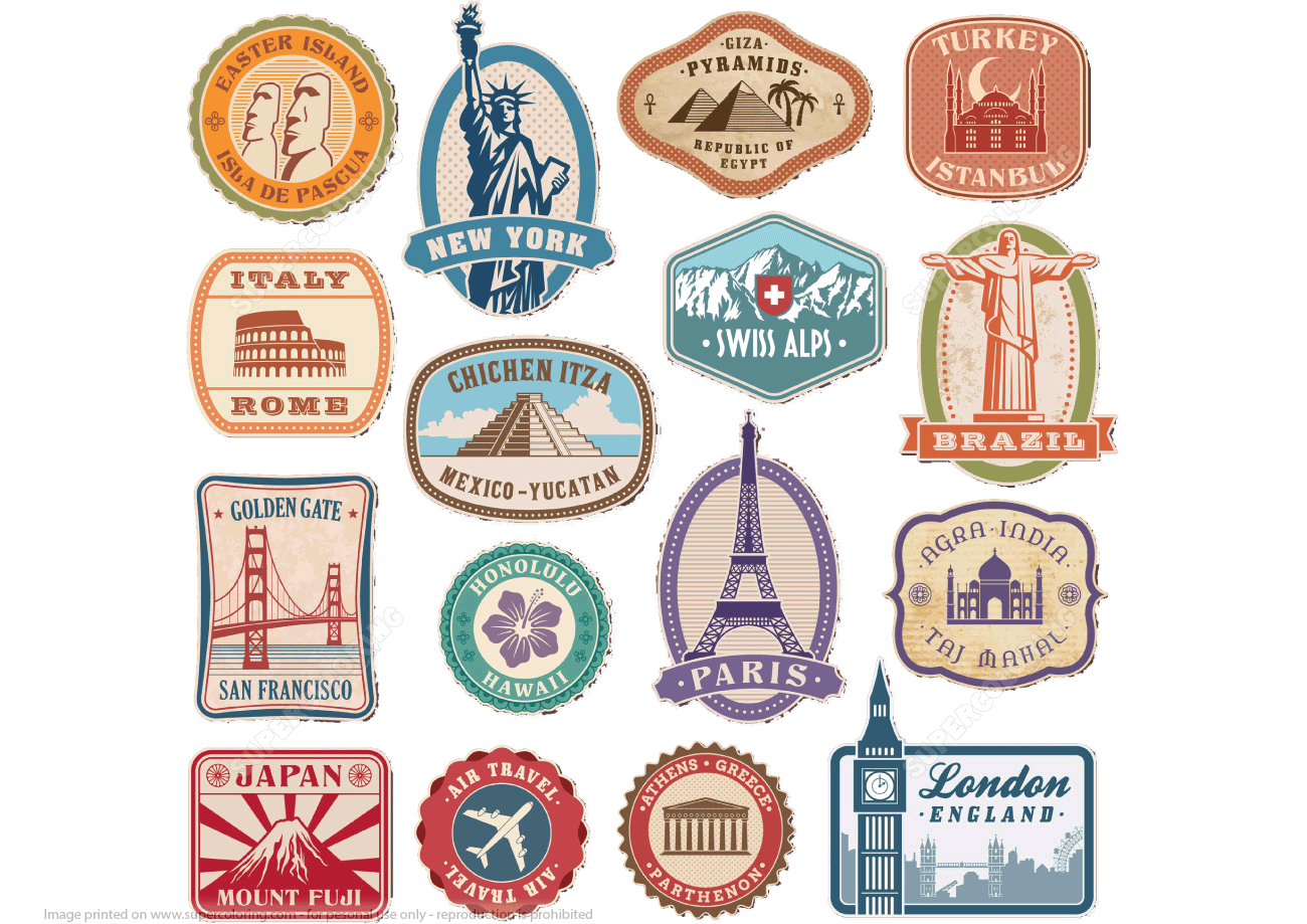 Printable Vintage Travel Stickers   Free Printable Papercraft Templates - Free Printable Old Fashioned Labels