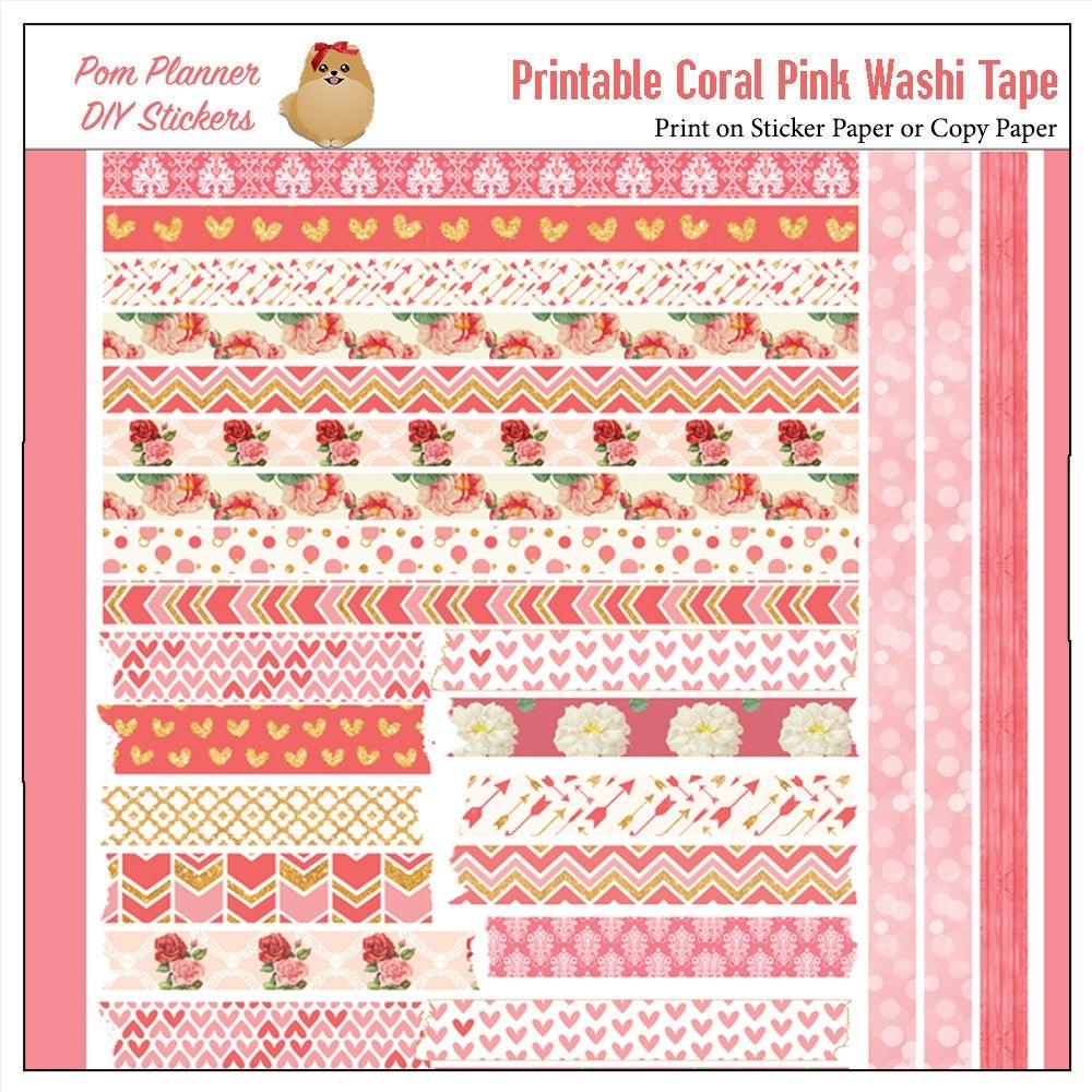 Printable Washi Tape Pink & Coral Roses Pdf Bible Journaling | Etsy - Free Printable Washi Tape