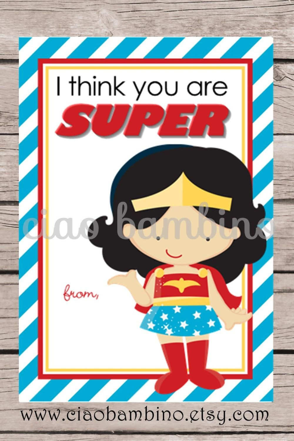 Printable Wonder Woman Valentine's Day Card Forciaobambino - Free Printable Superman Valentine Cards