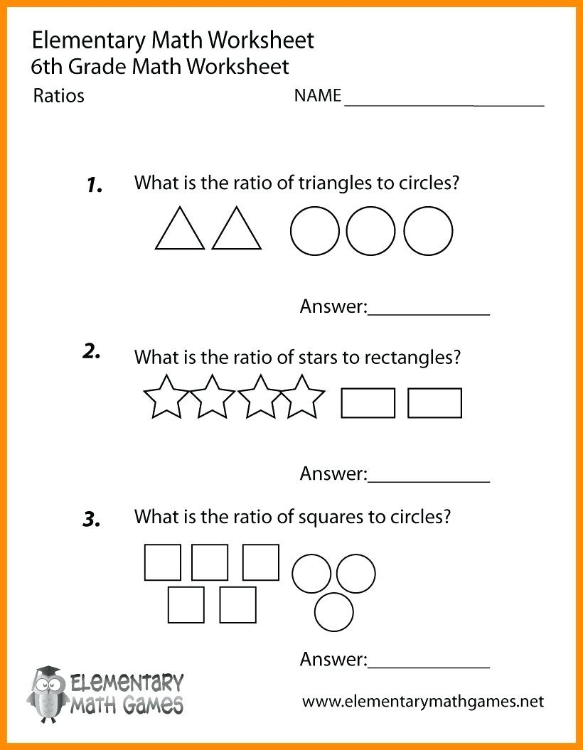 Printable Worksheets For 6Th Graders Grade Math Ratios Worksheets - Free Printable Math Worksheets For 6Th Grade