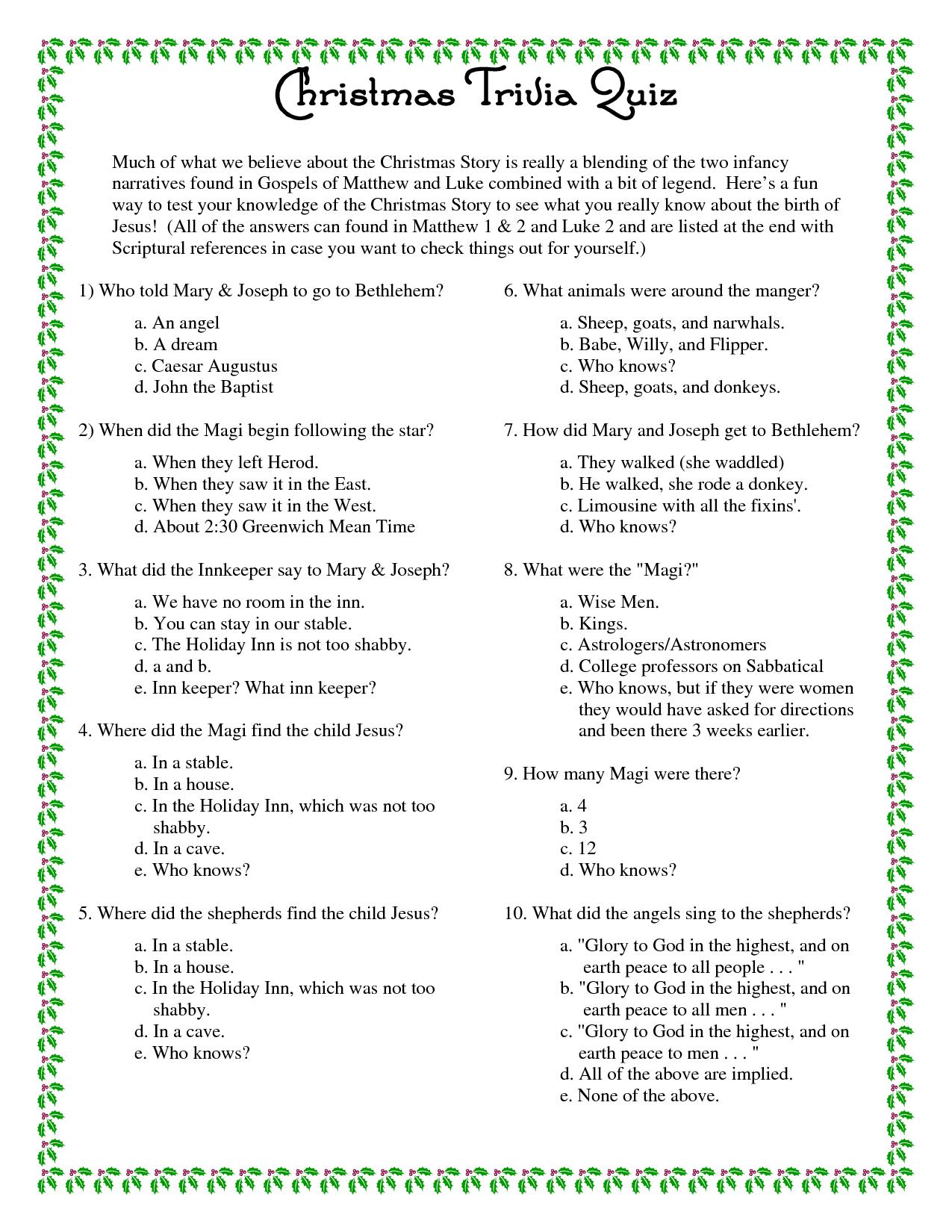 Printable+Christmas+Trivia+Questions+And+Answers | Christmas - Free Printable Christmas Trivia Quiz