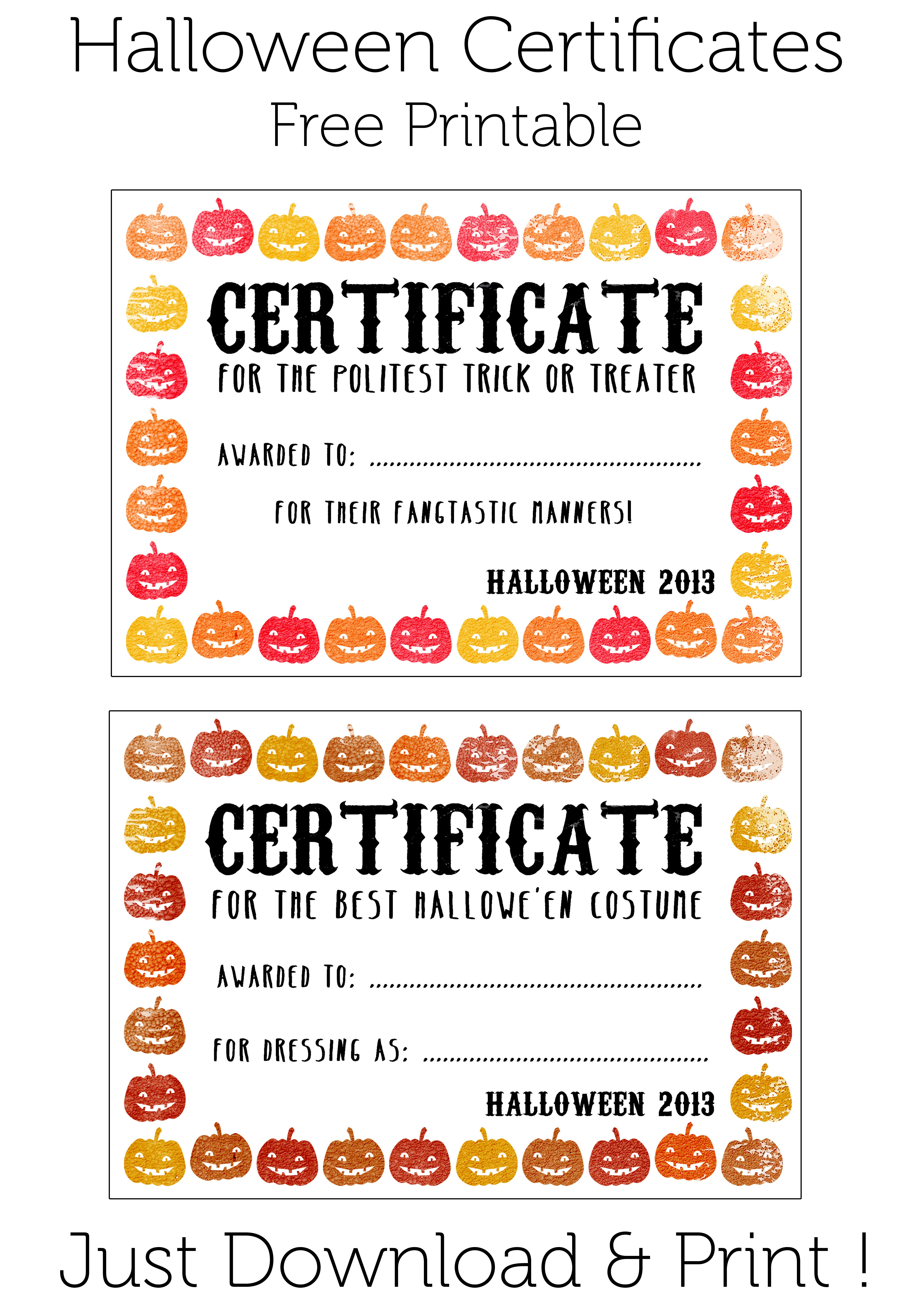 Prize For Winner Of Halloween Costume Contest | Baptism | Halloween - Free Printable Halloween Award Certificates
