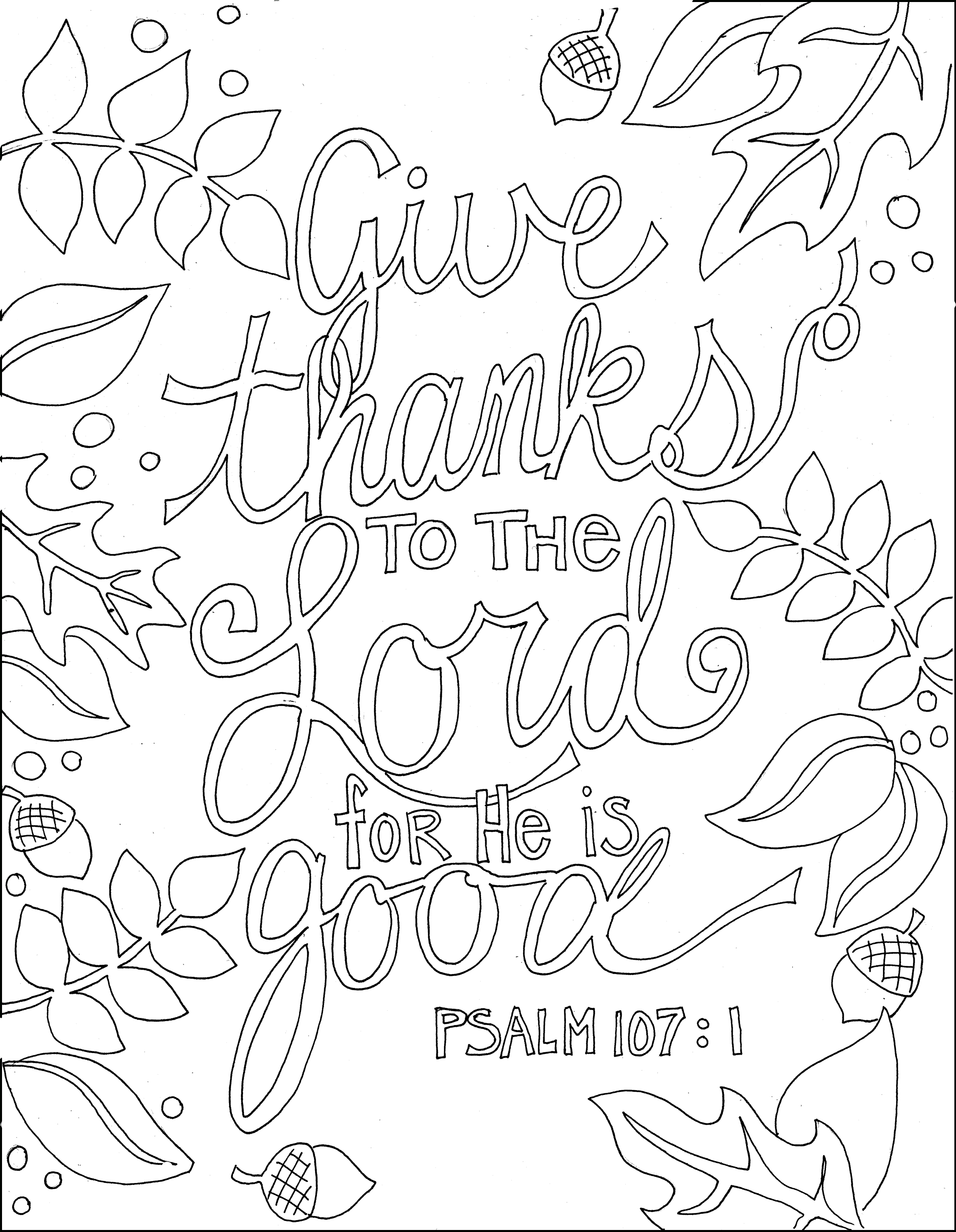 Ps 107.1 | Crafts, Arts | Printable Bible Verses, Bible Verse - Free Printable Bible Coloring Pages With Scriptures