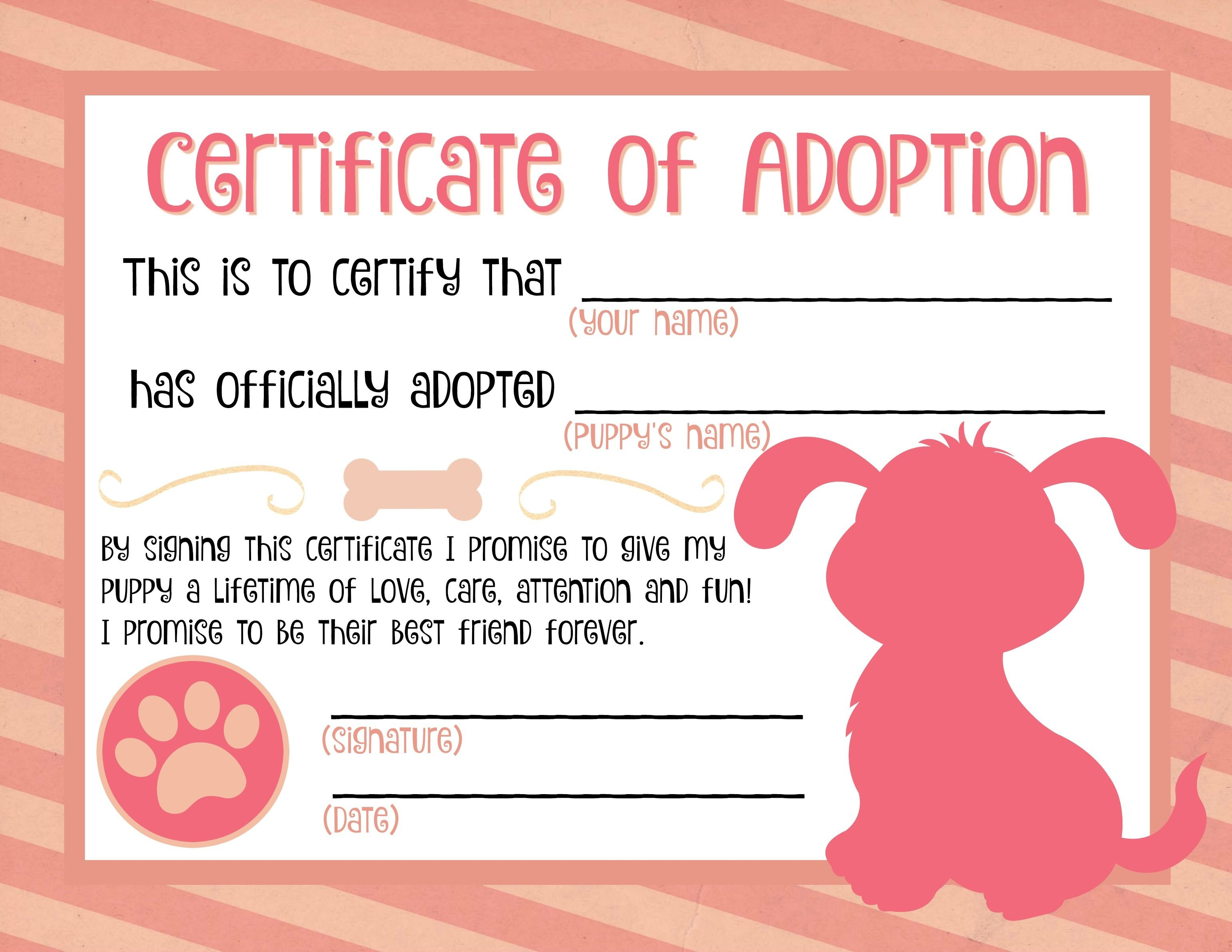 Puppy Adoption Certificate … | Party Ideas In 2019… - Fake Adoption Certificate Free Printable