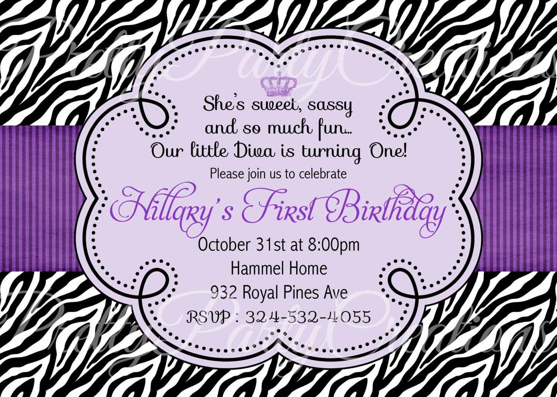 Purple Zebra Invitation - Birthday, Baby Shower - You Print - Free Printable Zebra Baby Shower Invitations