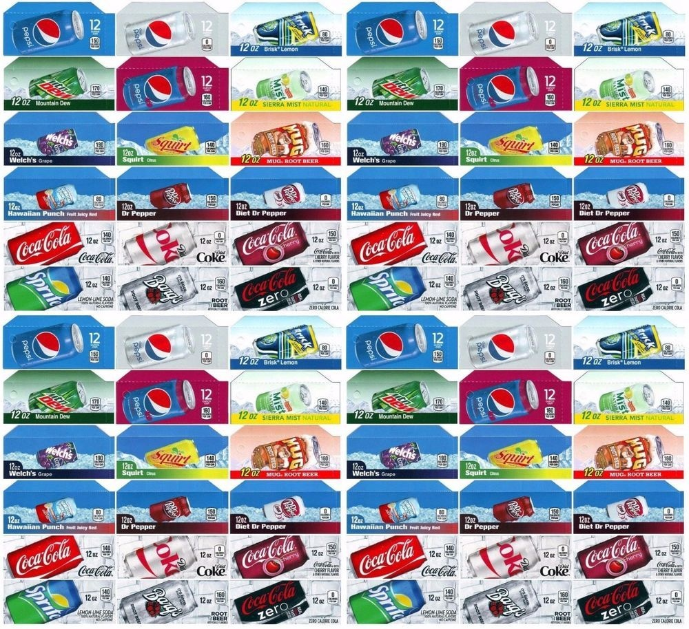 Qty 72 Coke Or Soda Machine Vending Variety Label Pack - Late Style - Free Printable Pop Machine Labels