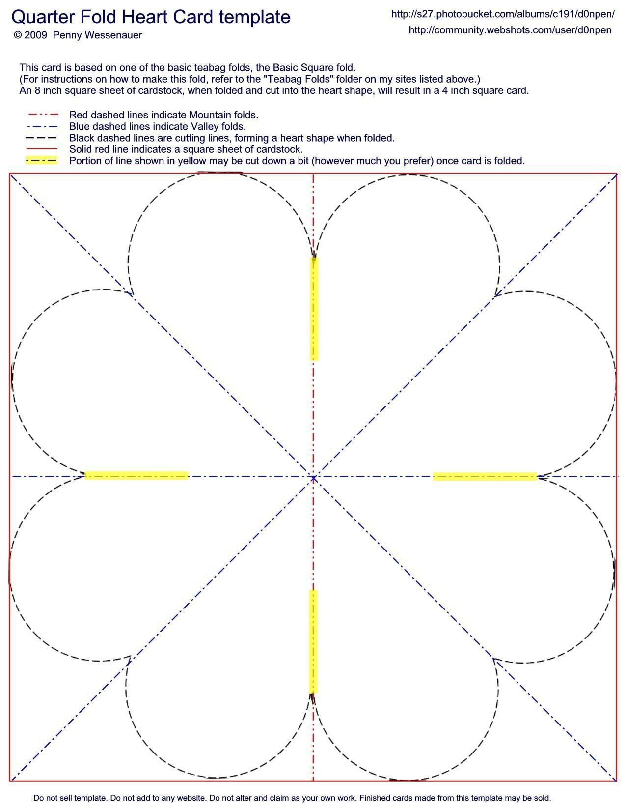 Quarter-Fold Heart Card Template | Fancy Folds | Card Making - Free Printable Quarter Fold Christmas Cards