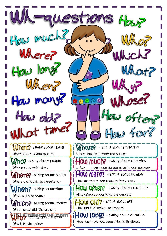 Questions - Poster   Free Esl Worksheets #teaching #englishpara Más - Free Printable Esl Resources