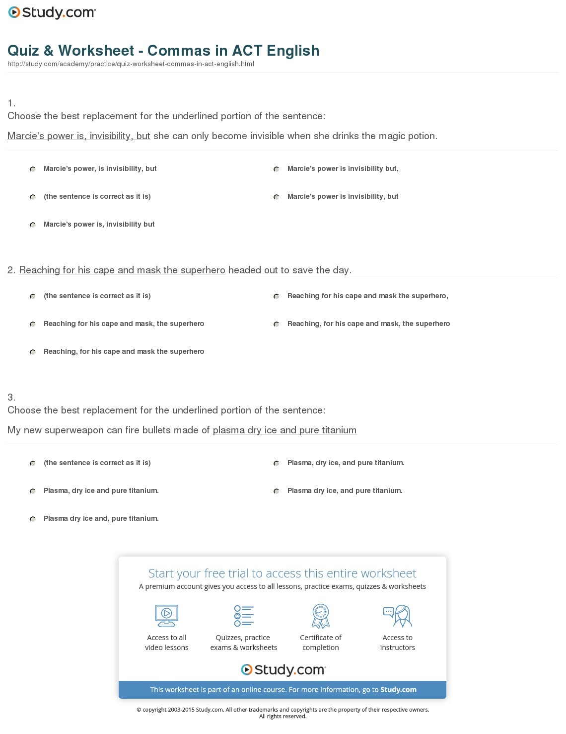 Quiz & Worksheet - Commas In Act English | Study - Free Printable Act Practice Worksheets